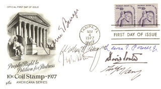 CHIEF JUSTICE WARREN E. BURGER - FIRST DAY COVER SIGNED CO-SIGNED BY: ASSOCIATE JUSTICE ANTHONY M. KENNEDY, ASSOCIATE JUSTICE LEWIS F. POWELL JR., ASSOCIATE JUSTICE DAVID H. SOUTER, CHIEF JUSTICE WILLIAM H. REHNQUIST, ASSOCIATE JUSTICE JOHN PAUL STEVENS