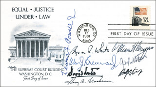 SUPREME COURT - FIRST DAY COVER SIGNED CO-SIGNED BY: ASSOCIATE JUSTICE BYRON R. WHITE, ASSOCIATE JUSTICE ANTHONY M. KENNEDY, ASSOCIATE JUSTICE LEWIS F. POWELL JR., ASSOCIATE JUSTICE DAVID H. SOUTER, ASSOCIATE JUSTICE WILLIAM J. BRENNAN JR., CHIEF JUSTICE WILLIAM H. REHNQUIST, ASSOCIATE JUSTICE HARRY A. BLACKMUN, ASSOCIATE JUSTICE JOHN PAUL STEVENS
