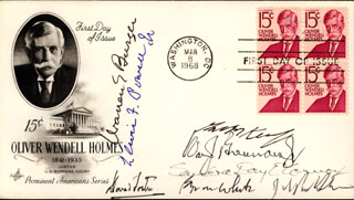 Autographs: CHIEF JUSTICE WARREN E. BURGER - FIRST DAY COVER SIGNED CO-SIGNED BY: ASSOCIATE JUSTICE BYRON R. WHITE, ASSOCIATE JUSTICE ANTHONY M. KENNEDY, ASSOCIATE JUSTICE LEWIS F. POWELL JR., ASSOCIATE JUSTICE DAVID H. SOUTER, ASSOCIATE JUSTICE SANDRA DAY O'CONNOR, ASSOCIATE JUSTICE WILLIAM J. BRENNAN JR., ASSOCIATE JUSTICE JOHN PAUL STEVENS