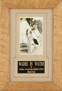 CHIEF WADES IN WATER - PICTURE POST CARD SIGNED