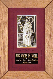 CHIEF WADES IN WATER (MRS.) - PICTURE POST CARD SIGNED