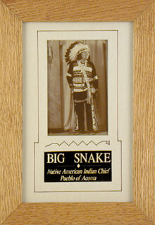 CHIEF BIG SNAKE - PICTURE POST CARD SIGNED