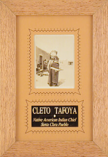 CHIEF CLETO TAFOYA - AUTOGRAPHED SIGNED PHOTOGRAPH 08/17/1927