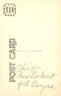 Autographs: CHIEF FRED LOOKOUT - PICTURE POST CARD SIGNED