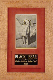 Autographs: CHIEF BLACK BEAR - PICTURE POST CARD SIGNED