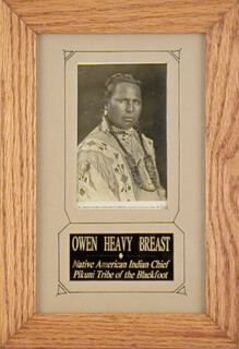 Autographs: CHIEF OWEN HEAVY BREAST - PICTURE POST CARD SIGNED