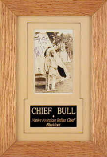 CHIEF BULL - PICTURE POST CARD SIGNED CIRCA 1941