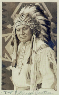 CHIEF WEASEL FEATHER - PICTURE POST CARD SIGNED