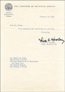 GENERAL LEWIS B. OLDEST SOLDIER HERSHEY - TYPED LETTER SIGNED 12/10/1953