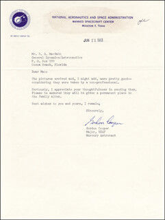 Autographs: COLONEL GORDON COOPER JR. - TYPED LETTER SIGNED 06/12/1963