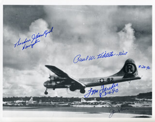 Autographs: ENOLA GAY CREW - PHOTOGRAPH SIGNED 08/24/1990 CO-SIGNED BY: ENOLA GAY CREW (THEODORE VAN KIRK), ENOLA GAY CREW (JACOB BESER), ENOLA GAY CREW (PAUL W. TIBBETS), ENOLA GAY CREW (COLONEL THOMAS W. FEREBEE)