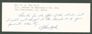 Autographs: ENOLA GAY CREW (THEODORE VAN KIRK) - AUTOGRAPH NOTE SIGNED
