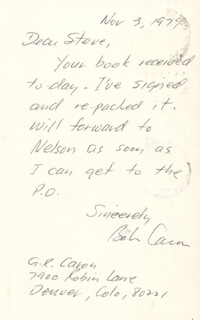 ENOLA GAY CREW (GEORGE R. CARON) - AUTOGRAPH NOTE SIGNED 11/03/1979