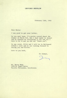 Autographs: IRVING BERLIN - TYPED LETTER SIGNED 02/15/1963