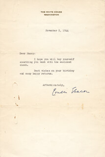 FIRST LADY ELEANOR ROOSEVELT - TYPED LETTER SIGNED 11/05/1944