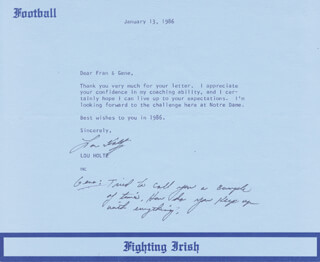 LOU HOLTZ - TYPED LETTER SIGNED 01/13/1986