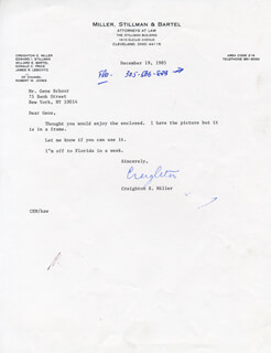 CREIGHTON MILLER - TYPED LETTER SIGNED 12/19/1985