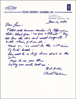 BILL MOOSE FISCHER - AUTOGRAPH LETTER SIGNED 01/10/1986