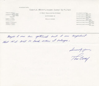 TOM CAREY - AUTOGRAPH LETTER SIGNED