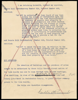 PRESIDENT FRANKLIN D. ROOSEVELT - TYPED MESSAGE SIGNED