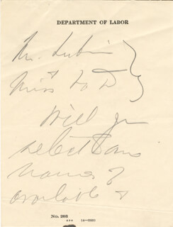 Frances C. Perkins Autographs 156909