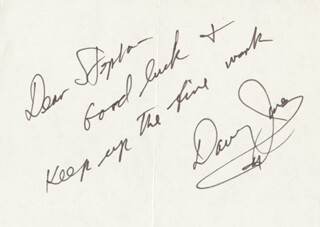 THE MONKEES (DAVY JONES) - AUTOGRAPH NOTE SIGNED