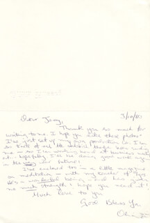 OLIVIA HUSSEY - AUTOGRAPH LETTER SIGNED 03/10/1980