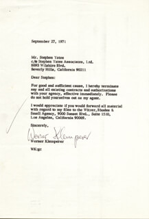 WERNER KLEMPERER - TYPED LETTER SIGNED 09/27/1971