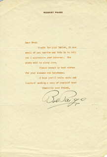 ROBERT DAVID CARLYLE PAIGE - TYPED LETTER SIGNED