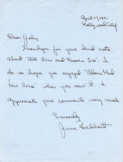 JUNE LOCKHART - AUTOGRAPH LETTER SIGNED 04/17/1941  - HFSID 156972