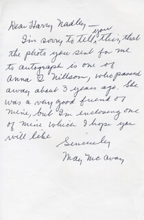 MAY McAVOY - AUTOGRAPH LETTER SIGNED