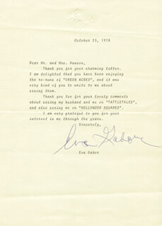 EVA GABOR - TYPED LETTER SIGNED 10/23/1978