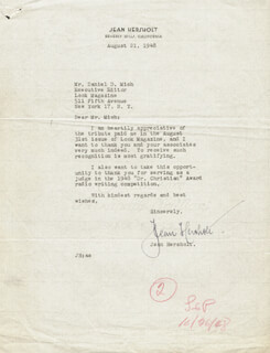 JEAN HERSHOLT - TYPED LETTER SIGNED 08/21/1948