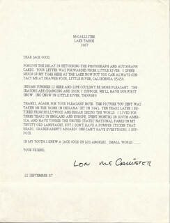 LON McCALLISTER - TYPED LETTER SIGNED 09/22/1987
