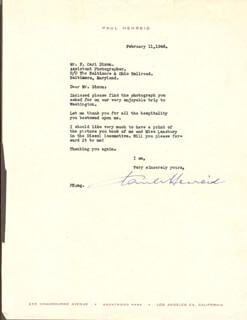 PAUL HENREID - TYPED LETTER SIGNED 02/11/1946