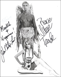 Autographs: BARBARELLA MOVIE CAST - PHOTOGRAPH SIGNED CO-SIGNED BY: JOHN PHILLIP LAW, JANE FONDA