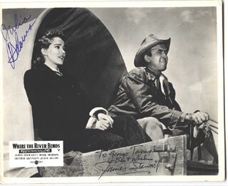 BEND OF THE RIVER MOVIE CAST - AUTOGRAPHED SIGNED PHOTOGRAPH CO-SIGNED BY: JULIE ADAMS, JAMES JIMMY STEWART