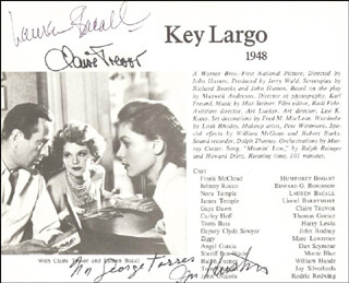 KEY LARGO MOVIE CAST - INSCRIBED MAGAZINE PHOTO SIGNED CO-SIGNED BY: CLAIRE TREVOR, LAUREN BACALL, JOHN HUSTON