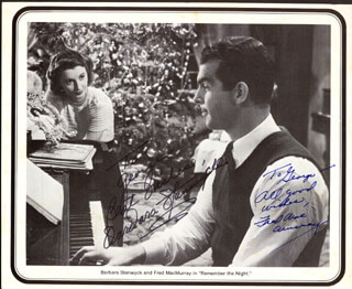 REMEMBER THE NIGHT MOVIE CAST - AUTOGRAPHED INSCRIBED PHOTOGRAPH CO-SIGNED BY: FRED MacMURRAY, BARBARA STANWYCK