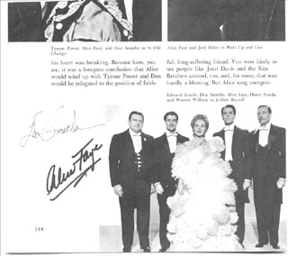 LILLIAN RUSSELL MOVIE CAST - BOOK PHOTOGRAPH SIGNED CO-SIGNED BY: DON AMECHE, ALICE FAYE - HFSID 157032