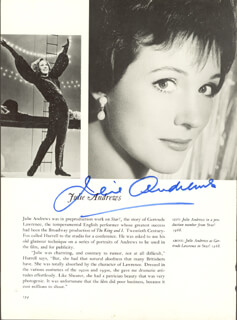 JULIE ANDREWS - BOOK PHOTOGRAPH SIGNED  - HFSID 157057