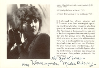 MADGE BELLAMY - INSCRIBED BOOK PAGE SIGNED 1984
