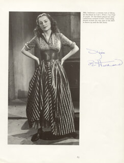 OLIVIA DE HAVILLAND - BOOK PHOTOGRAPH SIGNED