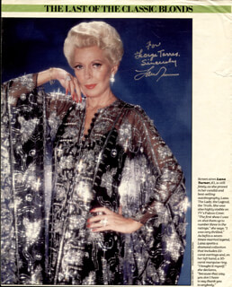 LANA TURNER - INSCRIBED MAGAZINE PHOTO SIGNED