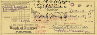 CECIL B. DEMILLE - AUTOGRAPHED SIGNED CHECK 12/11/1944