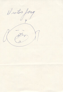 Autographs: VICTOR JORY - SELF-CARICATURE SIGNED