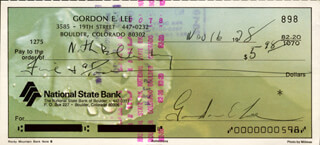 GORDON PORKY LEE - AUTOGRAPHED SIGNED CHECK 11/16/1978