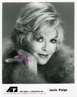 JANIS PAIGE - AUTOGRAPHED SIGNED PHOTOGRAPH