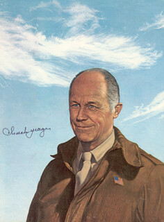 BRIGADIER GENERAL CHUCK YEAGER - ILLUSTRATION SIGNED