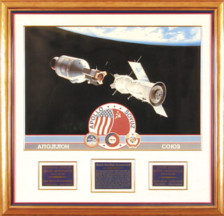 APOLLO - SOYUZ CREW - PRINTED ART SIGNED IN PENCIL CIRCA 1988 CO-SIGNED BY: VALERI N. KUBASOV, MAJOR GENERAL ALEXEI LEONOV, LT. GENERAL THOMAS P. STAFFORD, GEORGE BISHOP, MAJOR DONALD DEKE SLAYTON